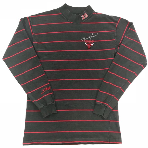 2722e5861 90's Chicago Bulls Michael Jordan 23 Striped L/S